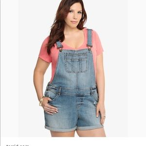 Plus size short overalls